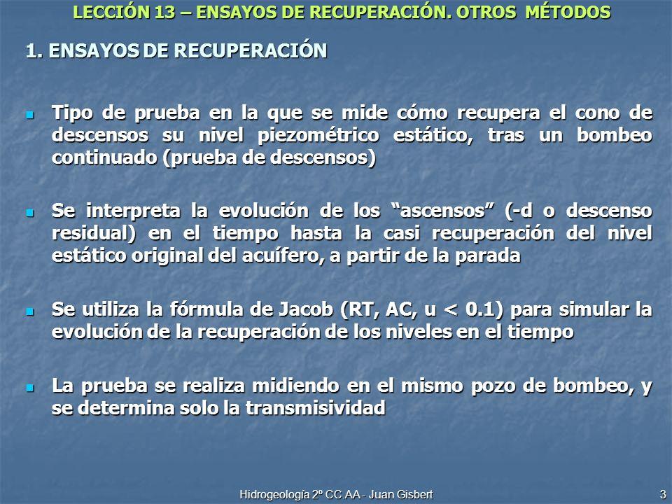 LECCIÓN 13 – ENSAYOS DE RECUPERACIÓN. OTROS MÉTODOS Hidrogeología 2º CC.AA - Juan Gisbert 3 1. ENSAYOS DE RECUPERACIÓN Tipo de prueba en la que se mid