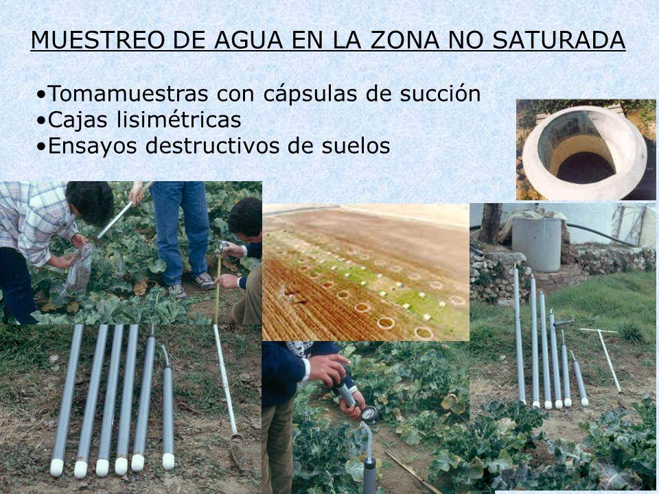 MUESTREO DE AGUA EN LA ZONA NO SATURADA Tomamuestras con cápsulas de succión Cajas lisimétricas Ensayos destructivos de suelos