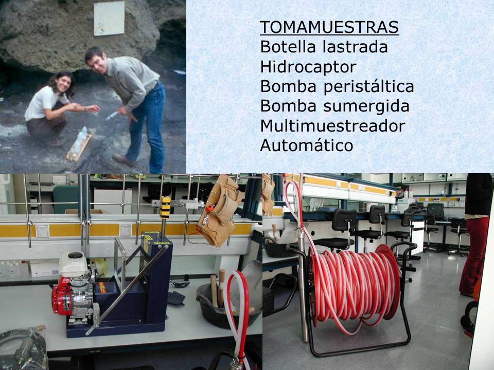 TOMAMUESTRAS Botella lastrada Hidrocaptor Bomba peristáltica Bomba sumergida Multimuestreador Automático