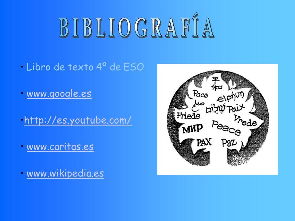 Libro de texto 4º de ESO www.google.es http://es.youtube.com/ www.caritas.es www.wikipedia.es