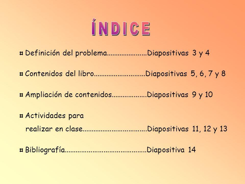 Definición del problema......................Diapositivas 3 y 4 Contenidos del libro............................Diapositivas 5, 6, 7 y 8 Ampliación de