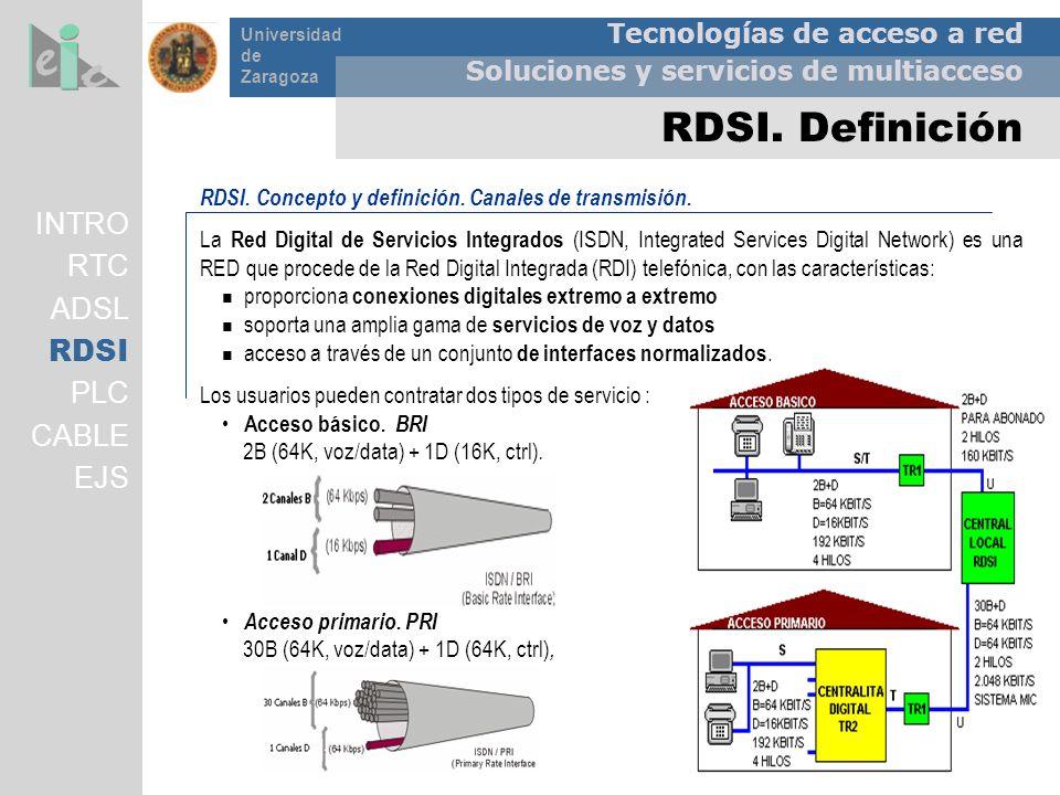 Tecnologías de acceso a red Soluciones y servicios de multiacceso Universidad de Zaragoza RDSI. Definición RDSI. Concepto y definición. Canales de tra