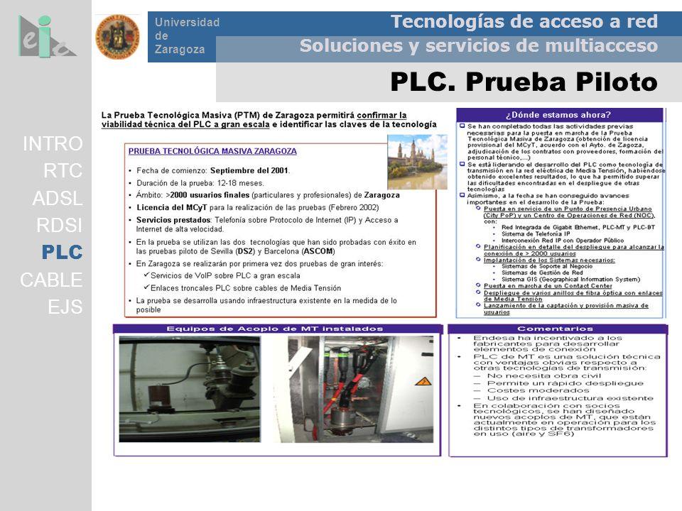 Tecnologías de acceso a red Soluciones y servicios de multiacceso Universidad de Zaragoza PLC. Prueba Piloto INTRO RTC ADSL RDSI PLC CABLE EJS