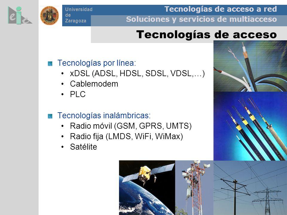 Tecnologías de acceso a red Soluciones y servicios de multiacceso Universidad de Zaragoza Tecnologías de acceso Tecnologías por línea: xDSL (ADSL, HDS