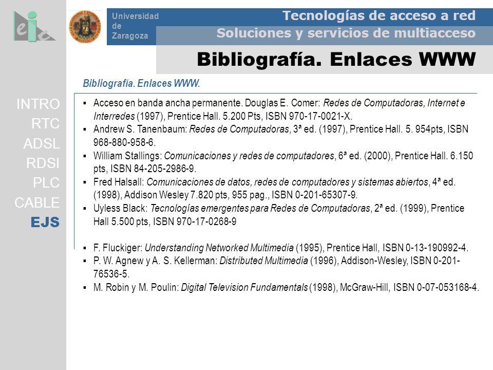 Tecnologías de acceso a red Soluciones y servicios de multiacceso Universidad de Zaragoza Bibliografía. Enlaces WWW Bibliografía. Enlaces WWW. Acceso