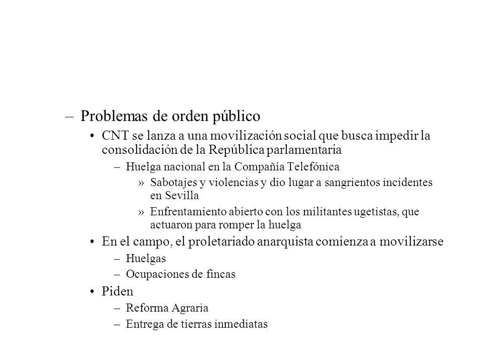 –Problemas de orden público CNT se lanza a una movilización social que busca impedir la consolidación de la República parlamentaria –Huelga nacional e