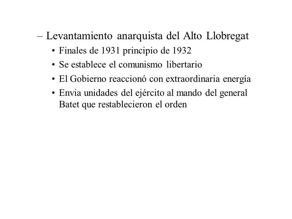 –Levantamiento anarquista del Alto Llobregat Finales de 1931 principio de 1932 Se establece el comunismo libertario El Gobierno reaccionó con extraord