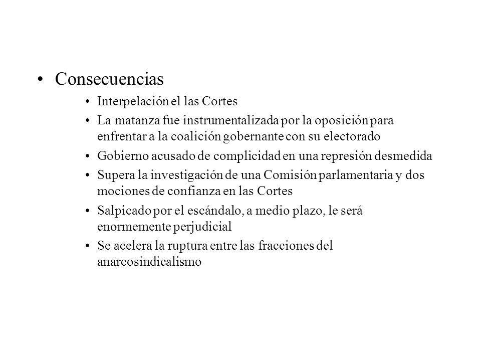 Consecuencias Interpelación el las Cortes La matanza fue instrumentalizada por la oposición para enfrentar a la coalición gobernante con su electorado
