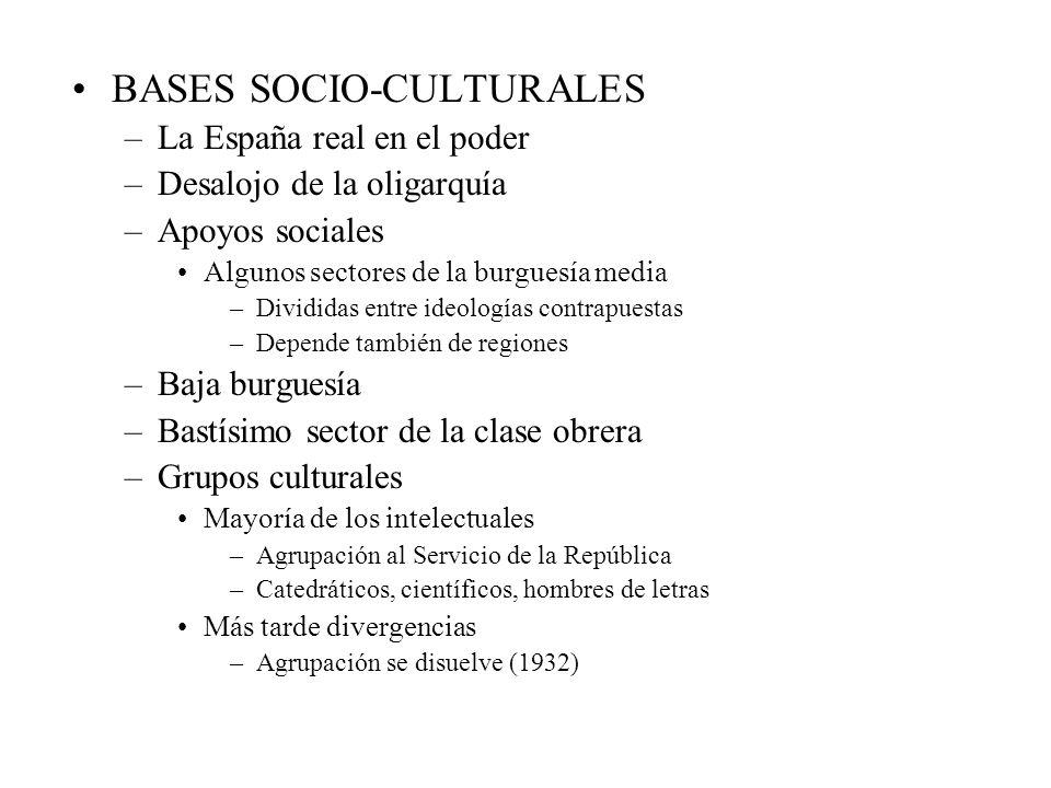 BASES SOCIO-CULTURALES –La España real en el poder –Desalojo de la oligarquía –Apoyos sociales Algunos sectores de la burguesía media –Divididas entre