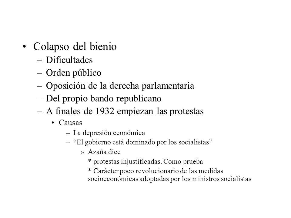 Colapso del bienio –Dificultades –Orden público –Oposición de la derecha parlamentaria –Del propio bando republicano –A finales de 1932 empiezan las p
