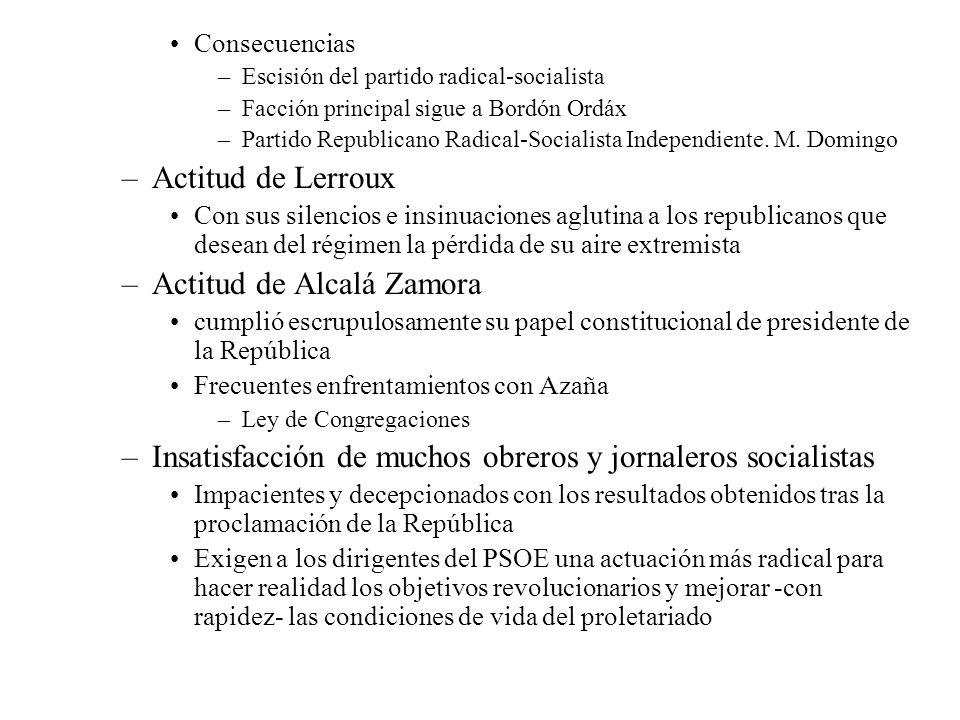 Consecuencias –Escisión del partido radical-socialista –Facción principal sigue a Bordón Ordáx –Partido Republicano Radical-Socialista Independiente.