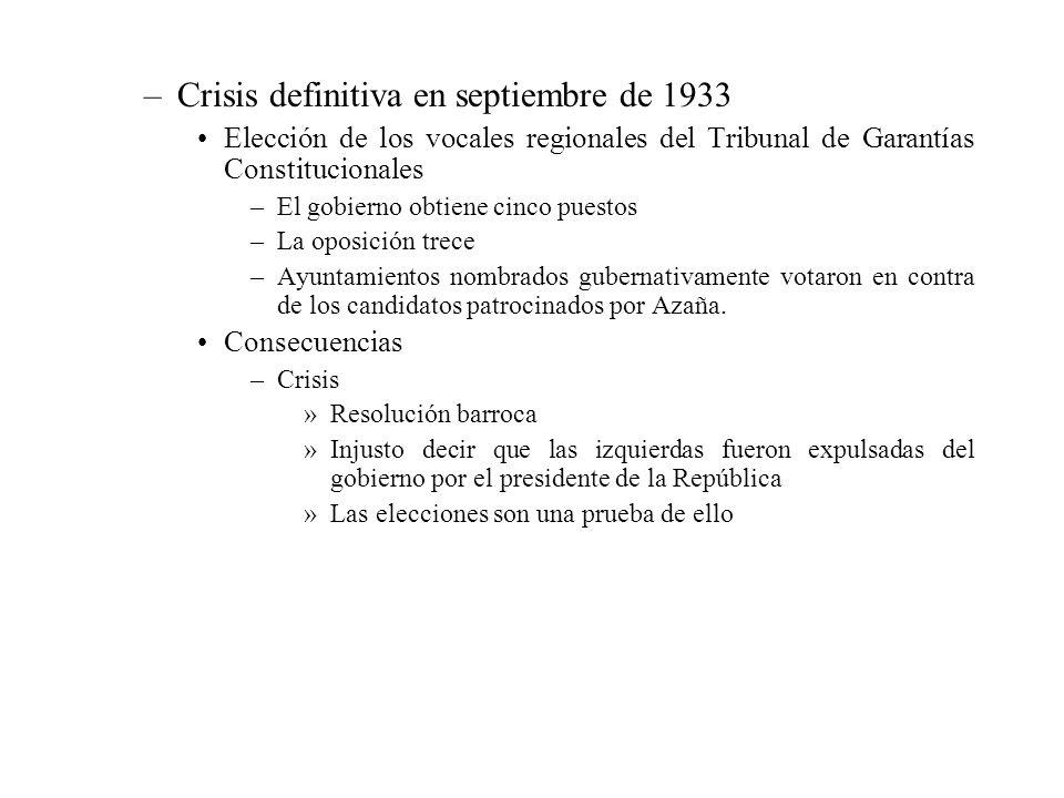 –Crisis definitiva en septiembre de 1933 Elección de los vocales regionales del Tribunal de Garantías Constitucionales –El gobierno obtiene cinco pues