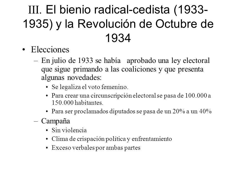 III. El bienio radical-cedista (1933- 1935) y la Revolución de Octubre de 1934 Elecciones –En julio de 1933 se había aprobado una ley electoral que si