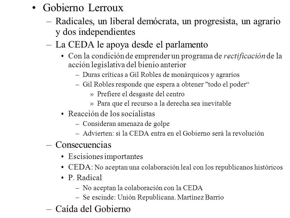 Gobierno Lerroux –Radicales, un liberal demócrata, un progresista, un agrario y dos independientes –La CEDA le apoya desde el parlamento Con la condic