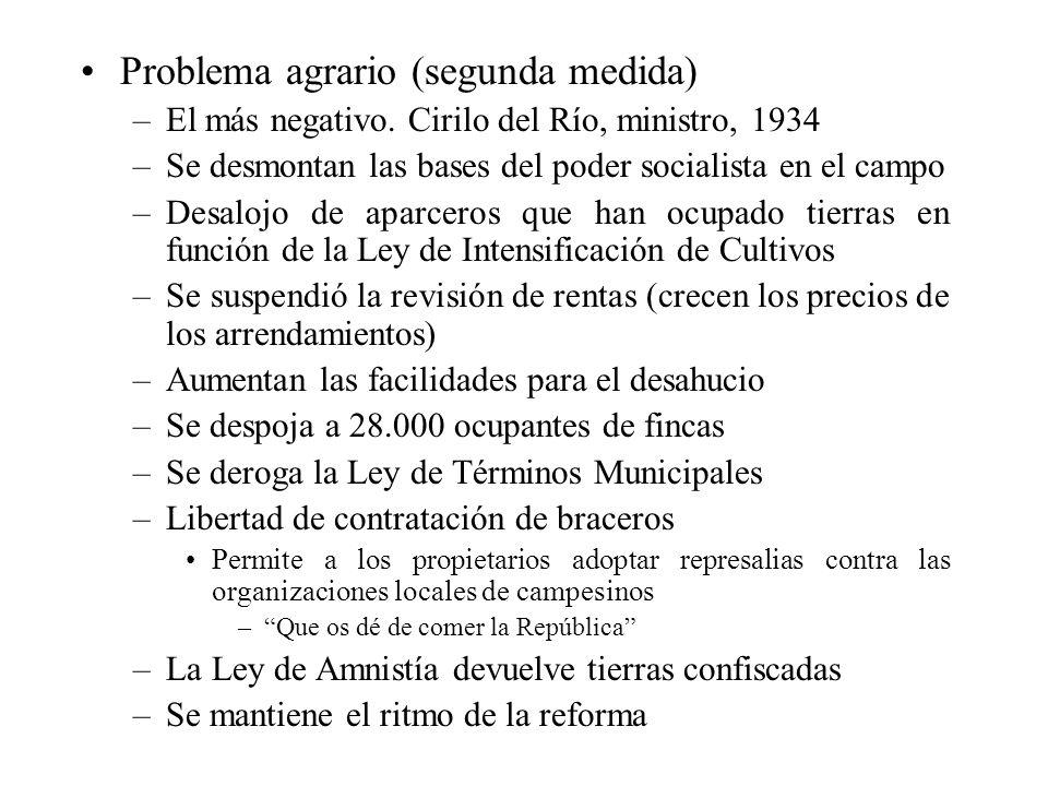 Problema agrario (segunda medida) –El más negativo. Cirilo del Río, ministro, 1934 –Se desmontan las bases del poder socialista en el campo –Desalojo