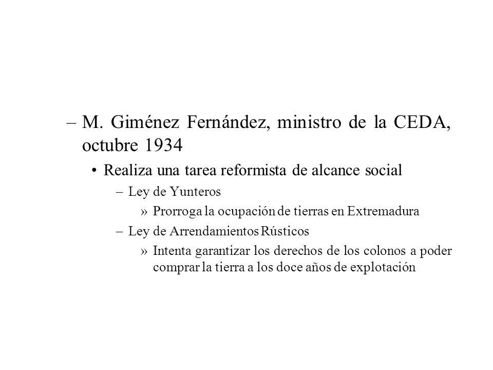 –M. Giménez Fernández, ministro de la CEDA, octubre 1934 Realiza una tarea reformista de alcance social –Ley de Yunteros »Prorroga la ocupación de tie