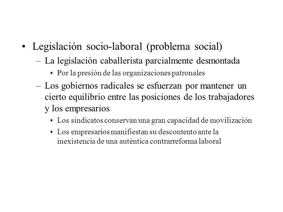 Legislación socio-laboral (problema social) –La legislación caballerista parcialmente desmontada Por la presión de las organizaciones patronales –Los