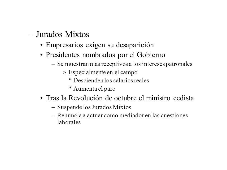 –Jurados Mixtos Empresarios exigen su desaparición Presidentes nombrados por el Gobierno –Se muestran más receptivos a los intereses patronales »Espec