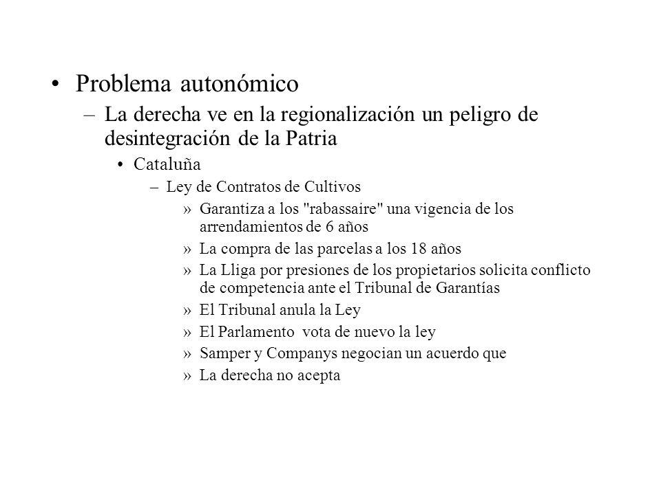 Problema autonómico –La derecha ve en la regionalización un peligro de desintegración de la Patria Cataluña –Ley de Contratos de Cultivos »Garantiza a