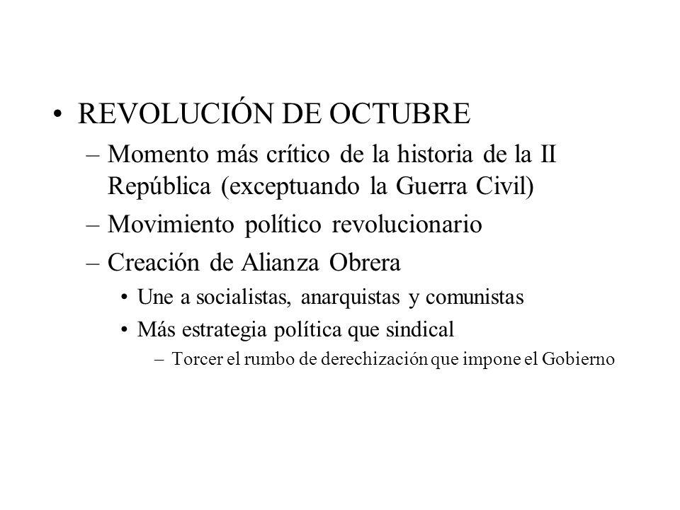 REVOLUCIÓN DE OCTUBRE –Momento más crítico de la historia de la II República (exceptuando la Guerra Civil) –Movimiento político revolucionario –Creaci