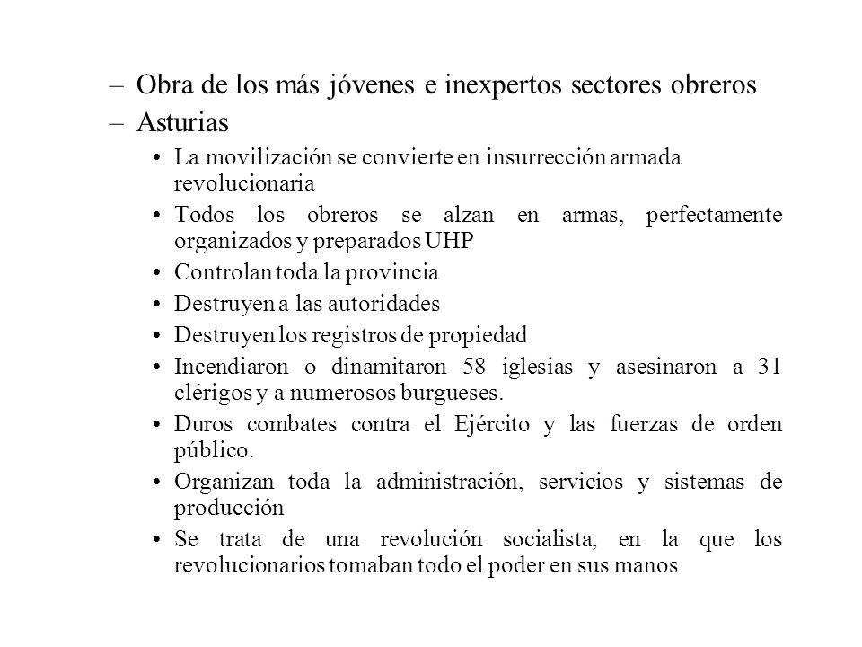 –Obra de los más jóvenes e inexpertos sectores obreros –Asturias La movilización se convierte en insurrección armada revolucionaria Todos los obreros