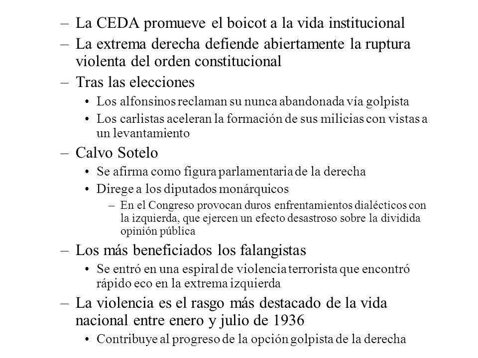 –La CEDA promueve el boicot a la vida institucional –La extrema derecha defiende abiertamente la ruptura violenta del orden constitucional –Tras las e