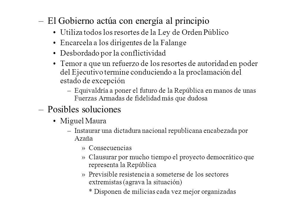 –El Gobierno actúa con energía al principio Utiliza todos los resortes de la Ley de Orden Público Encarcela a los dirigentes de la Falange Desbordado