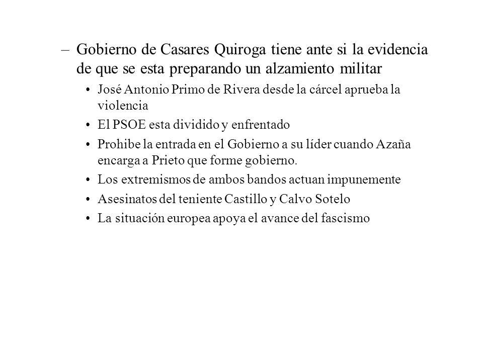 –Gobierno de Casares Quiroga tiene ante si la evidencia de que se esta preparando un alzamiento militar José Antonio Primo de Rivera desde la cárcel a