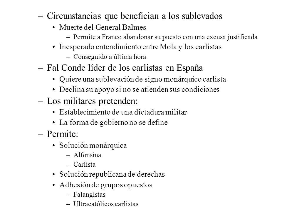 –Circunstancias que benefician a los sublevados Muerte del General Balmes –Permite a Franco abandonar su puesto con una excusa justificada Inesperado
