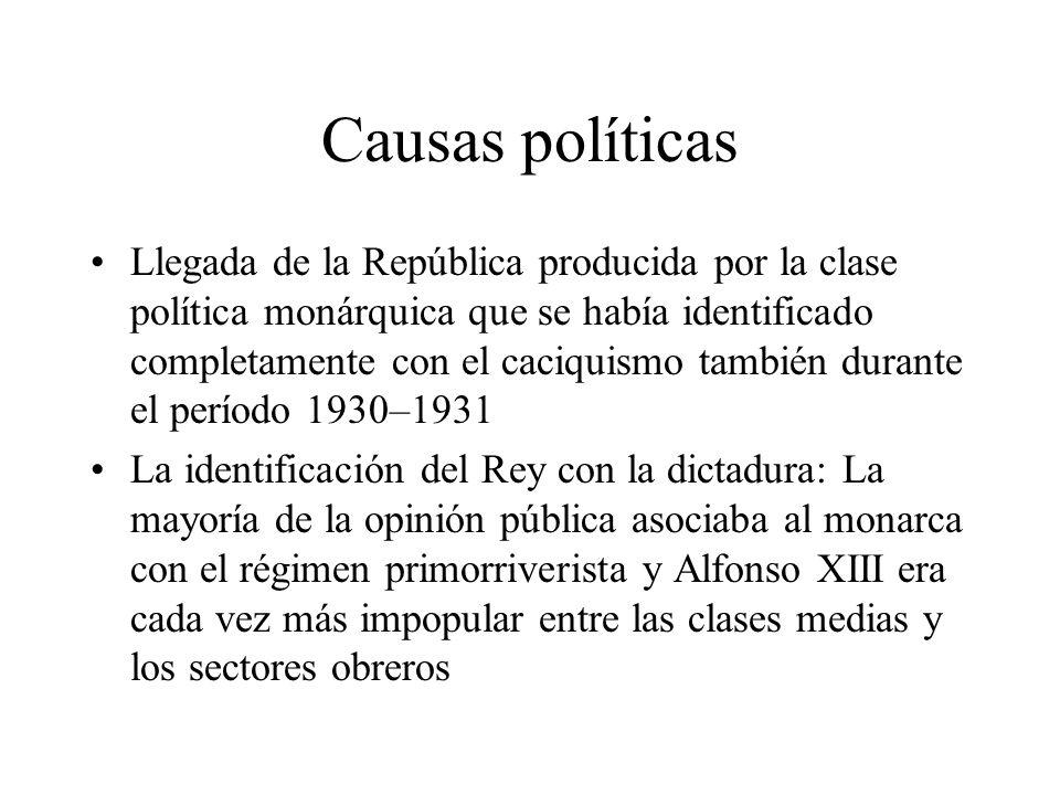 Causas políticas Llegada de la República producida por la clase política monárquica que se había identificado completamente con el caciquismo también