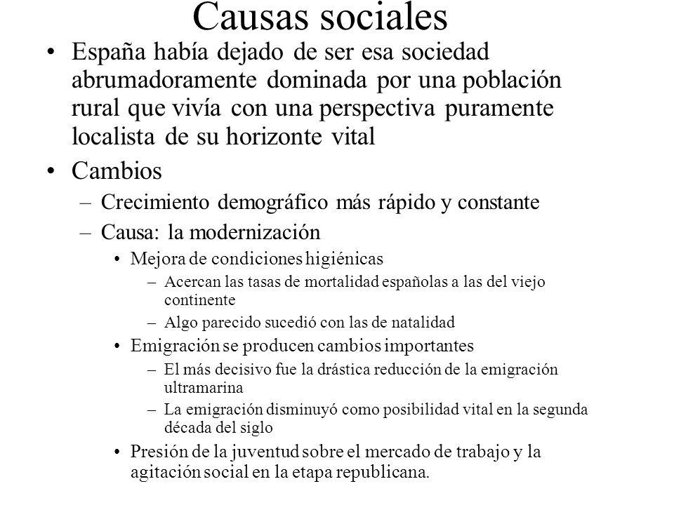 Causas sociales España había dejado de ser esa sociedad abrumadoramente dominada por una población rural que vivía con una perspectiva puramente local