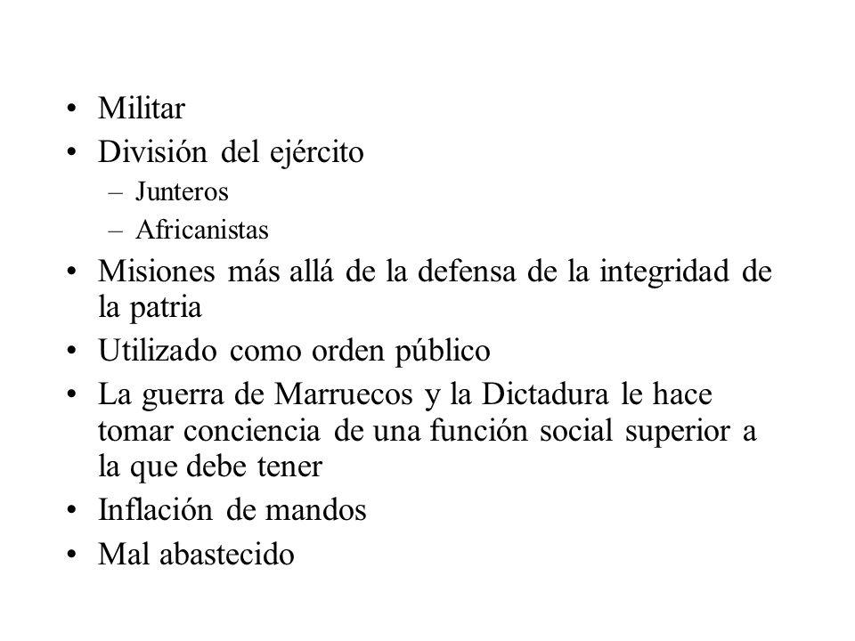 Militar División del ejército –Junteros –Africanistas Misiones más allá de la defensa de la integridad de la patria Utilizado como orden público La gu