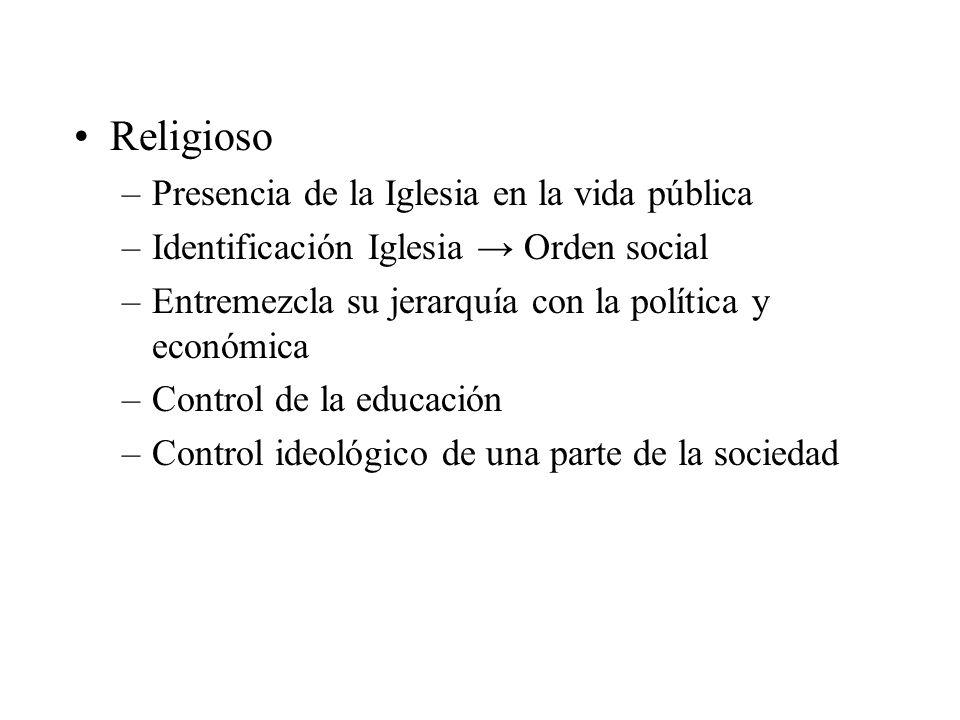 Religioso –Presencia de la Iglesia en la vida pública –Identificación Iglesia Orden social –Entremezcla su jerarquía con la política y económica –Cont