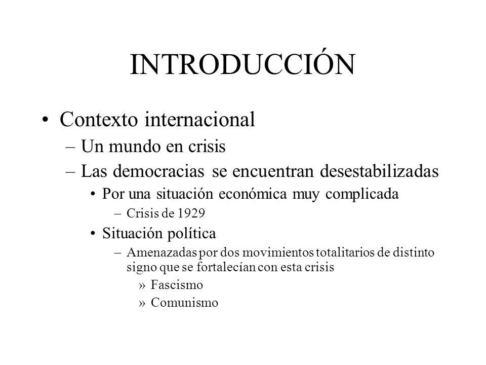 INTRODUCCIÓN Contexto internacional –Un mundo en crisis –Las democracias se encuentran desestabilizadas Por una situación económica muy complicada –Cr