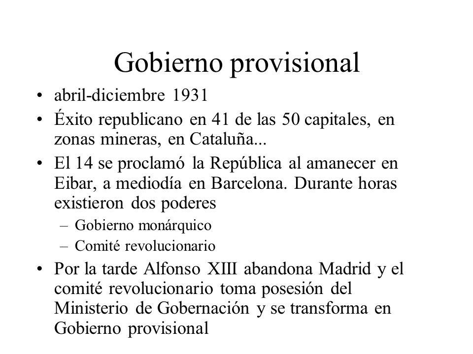 Gobierno provisional abril-diciembre 1931 Éxito republicano en 41 de las 50 capitales, en zonas mineras, en Cataluña... El 14 se proclamó la República