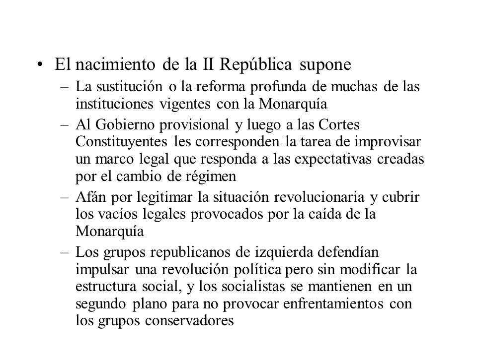 El nacimiento de la II República supone –La sustitución o la reforma profunda de muchas de las instituciones vigentes con la Monarquía –Al Gobierno pr