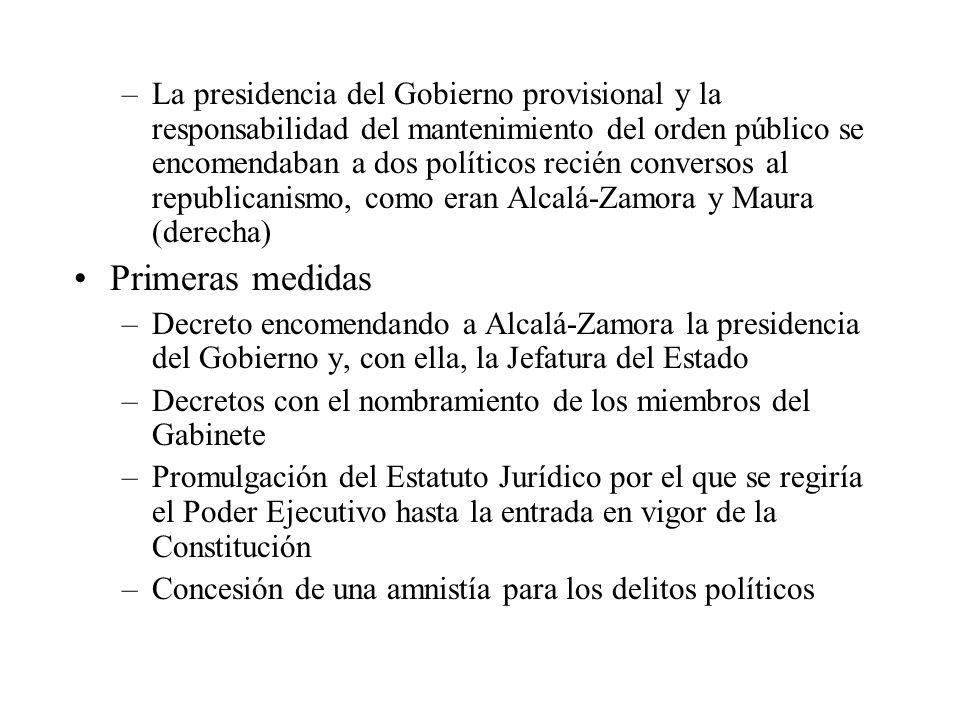–La presidencia del Gobierno provisional y la responsabilidad del mantenimiento del orden público se encomendaban a dos políticos recién conversos al