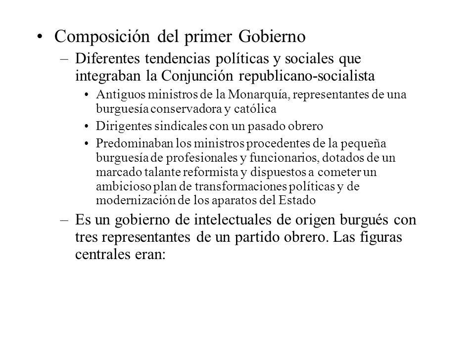 Composición del primer Gobierno –Diferentes tendencias políticas y sociales que integraban la Conjunción republicano-socialista Antiguos ministros de