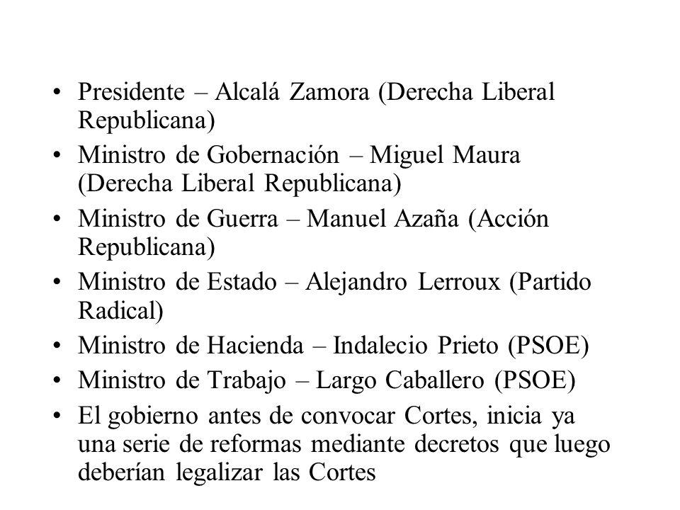 Presidente – Alcalá Zamora (Derecha Liberal Republicana) Ministro de Gobernación – Miguel Maura (Derecha Liberal Republicana) Ministro de Guerra – Man