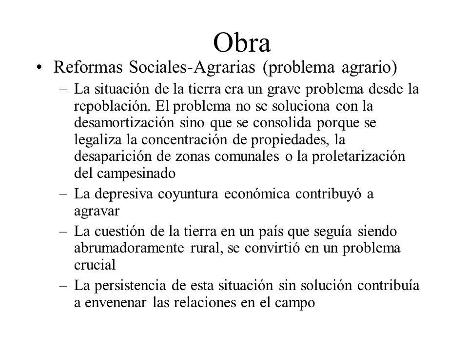 Obra Reformas Sociales-Agrarias (problema agrario) –La situación de la tierra era un grave problema desde la repoblación. El problema no se soluciona