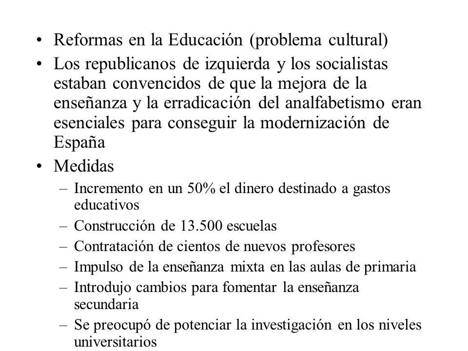 Reformas en la Educación (problema cultural) Los republicanos de izquierda y los socialistas estaban convencidos de que la mejora de la enseñanza y la