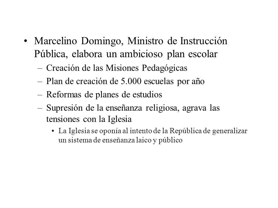 Marcelino Domingo, Ministro de Instrucción Pública, elabora un ambicioso plan escolar –Creación de las Misiones Pedagógicas –Plan de creación de 5.000