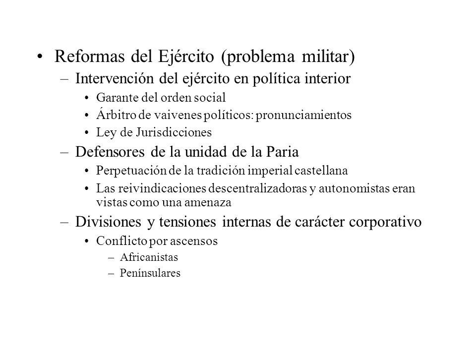Reformas del Ejército (problema militar) –Intervención del ejército en política interior Garante del orden social Árbitro de vaivenes políticos: pronu