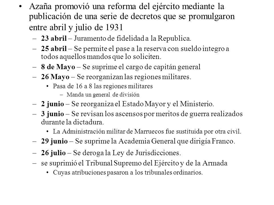 Azaña promovió una reforma del ejército mediante la publicación de una serie de decretos que se promulgaron entre abril y julio de 1931 –23 abril – Ju