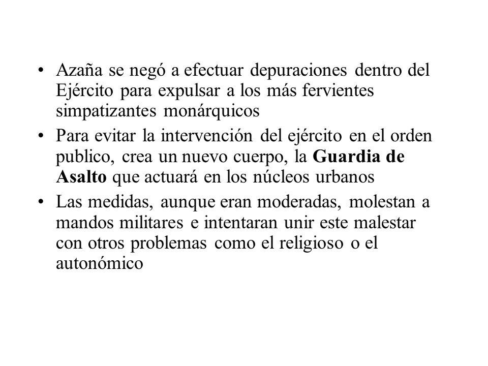 Azaña se negó a efectuar depuraciones dentro del Ejército para expulsar a los más fervientes simpatizantes monárquicos Para evitar la intervención del