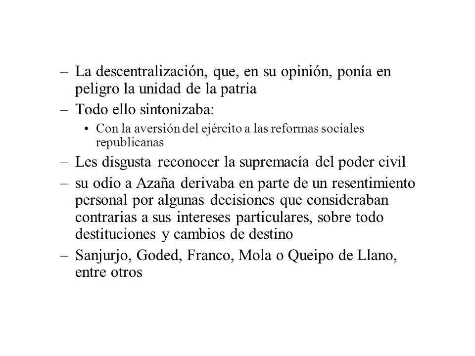 –La descentralización, que, en su opinión, ponía en peligro la unidad de la patria –Todo ello sintonizaba: Con la aversión del ejército a las reformas