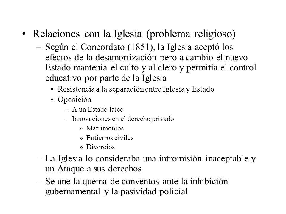 Relaciones con la Iglesia (problema religioso) –Según el Concordato (1851), la Iglesia aceptó los efectos de la desamortización pero a cambio el nuevo