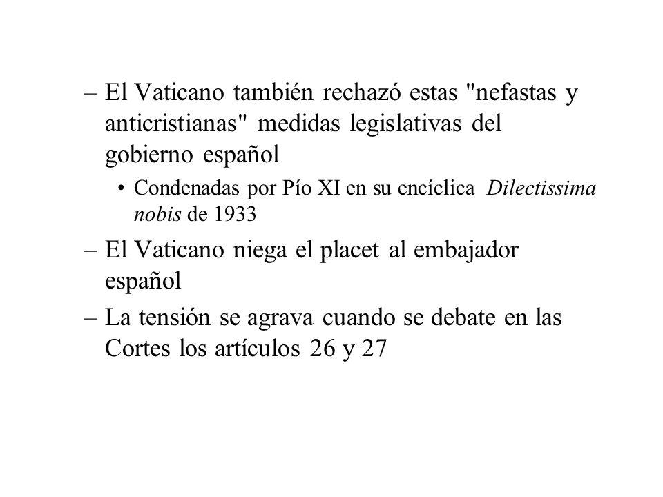 –El Vaticano también rechazó estas