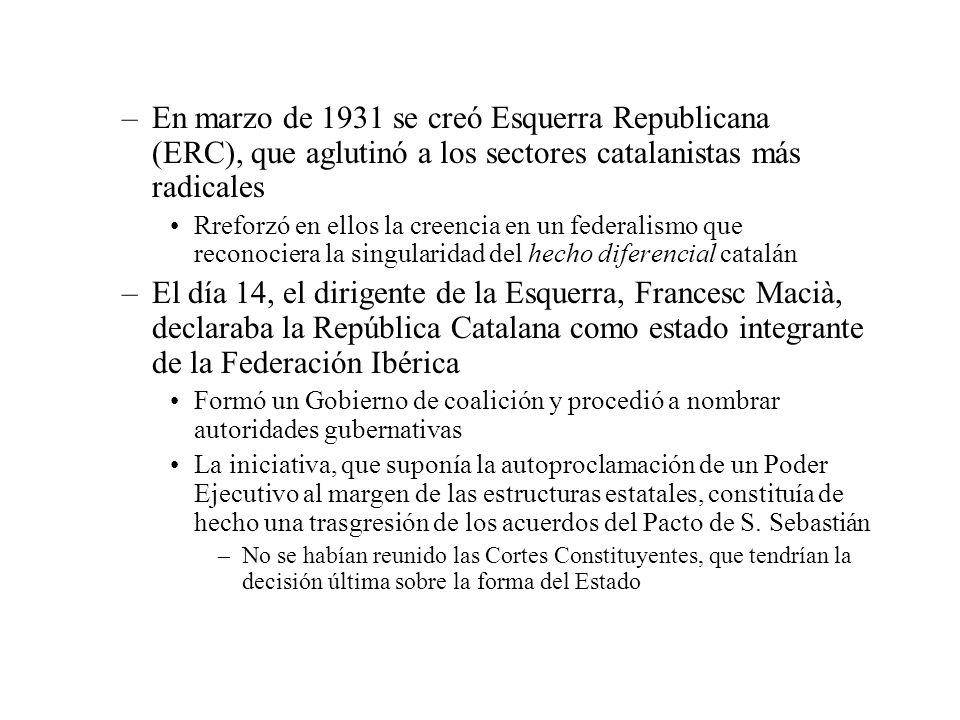 –En marzo de 1931 se creó Esquerra Republicana (ERC), que aglutinó a los sectores catalanistas más radicales Rreforzó en ellos la creencia en un feder