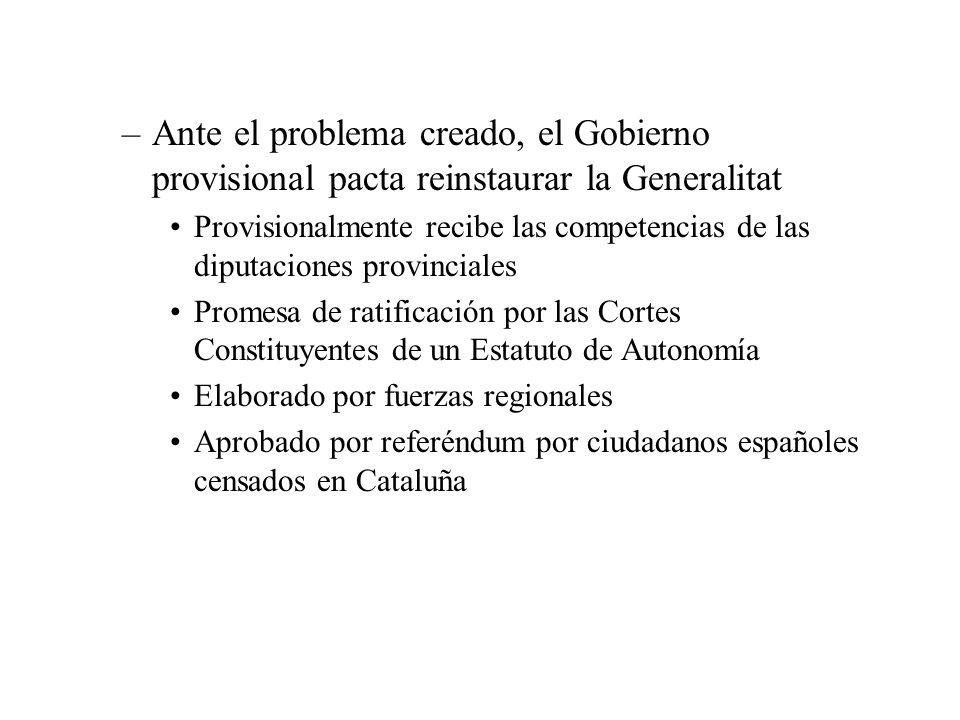 –Ante el problema creado, el Gobierno provisional pacta reinstaurar la Generalitat Provisionalmente recibe las competencias de las diputaciones provin